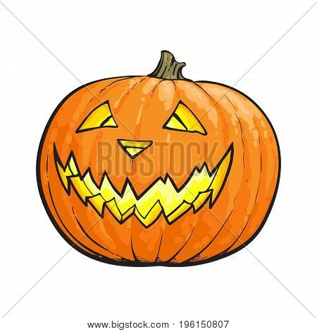 Jack o lantern, ripe orange pumpkin with carved scary face , traditional Halloween symbol, sketch vector illustration isolated on white background. Hand drawn Halloween pumpkin, jack o lantern