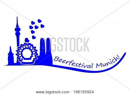 decorative Beerfestival Munich with a silhouette of Munich - illustration