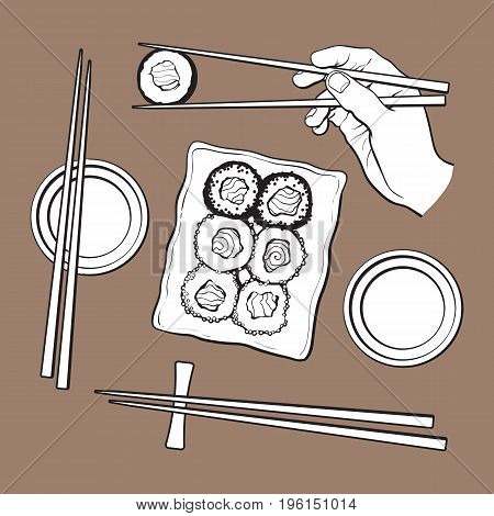 Japanese sushi set, serving plate, hand holding chopsticks, sketch vector illustration isolated on brown background. Sushi serving plate, hand with chopsticks, soy sauce bowls, Japanese cuisine