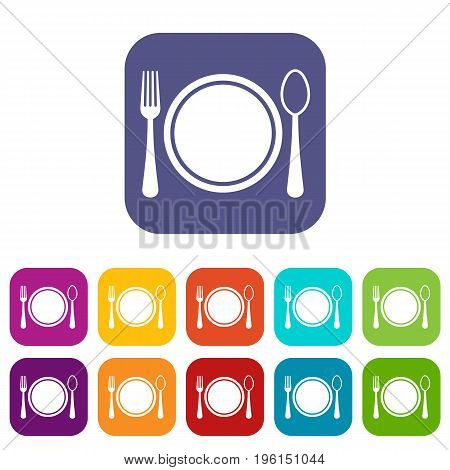 Place setting with plate, spoon and fork icons set vector illustration in flat style in colors red, blue, green, and other