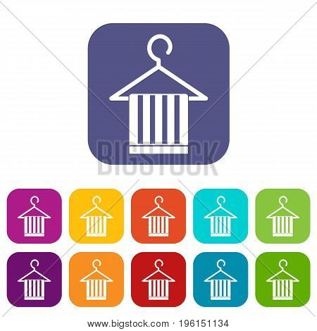 Scarf on a coat hanger icons set vector illustration in flat style in colors red, blue, green, and other