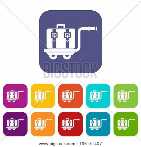 Baggage cart icons set vector illustration in flat style in colors red, blue, green, and other