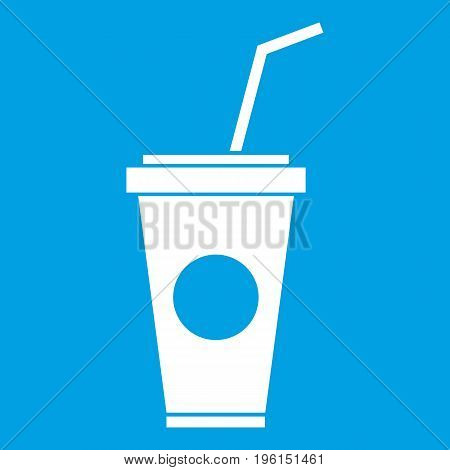 Paper cup with straw icon white isolated on blue background vector illustration