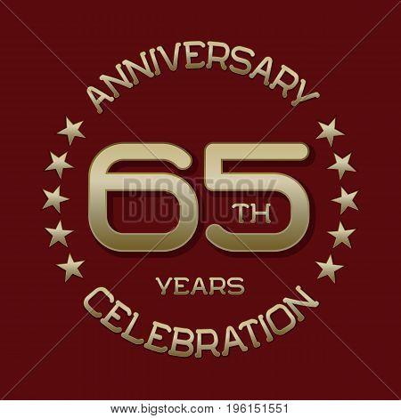 65th anniversary celebration logo symbol. Golden circular editable emblem on red.