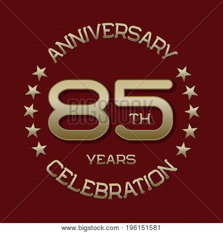 85th anniversary celebration logo symbol. Golden circular editable emblem on red.