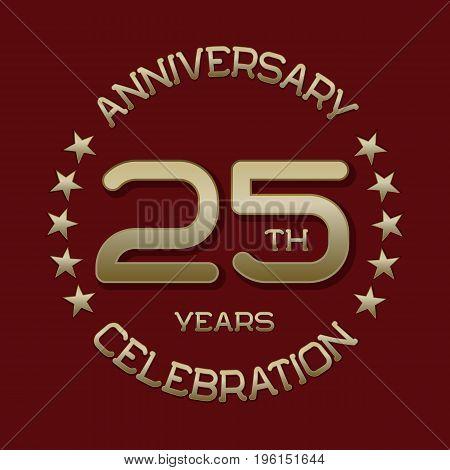 25th anniversary celebration logo symbol. Golden circular editable emblem on red.