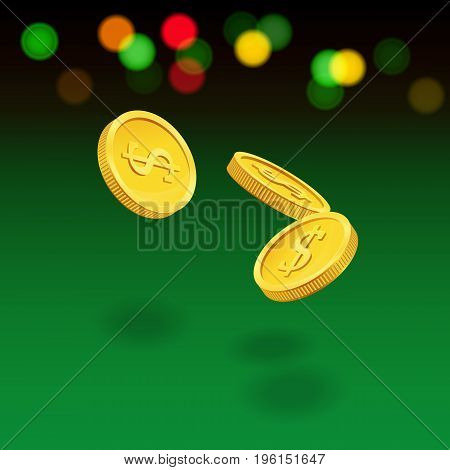 Vector casino illustration. Flying coins on green background.