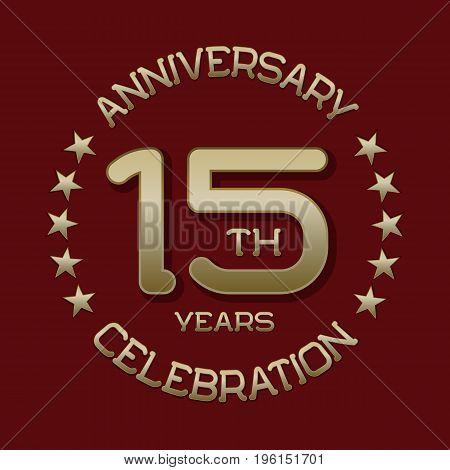 15th anniversary celebration logo symbol. Golden circular editable emblem on red.