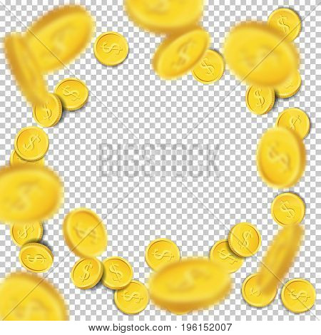 Flying coins on transparent background. Vector illustration.