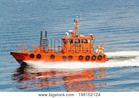 Copenhagen, Denmark-July 14, 2017: Pilot boat cruising by after dropping off the pilot