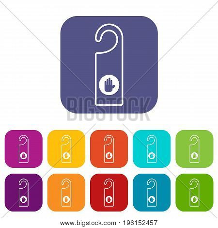 Do not disturb sign icons set vector illustration in flat style in colors red, blue, green, and other