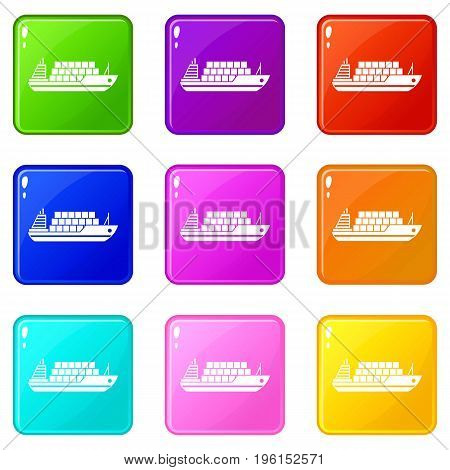 Cargo ship icons of 9 color set isolated vector illustration