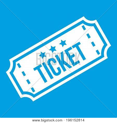 Movie ticket icon white isolated on blue background vector illustration