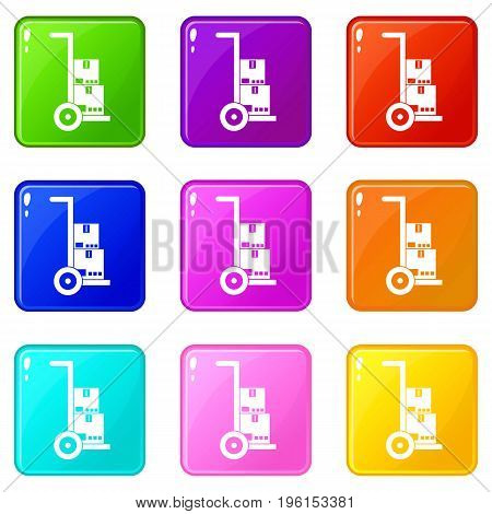 Hand cart with cardboards icons of 9 color set isolated vector illustration