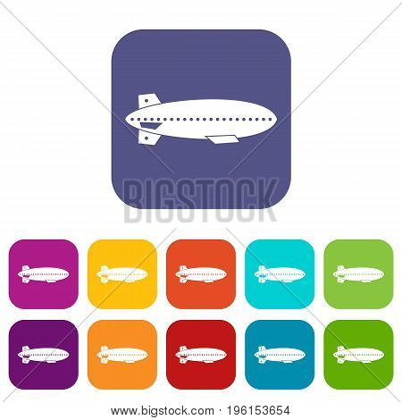 Dirigible balloon icons set vector illustration in flat style in colors red, blue, green, and other