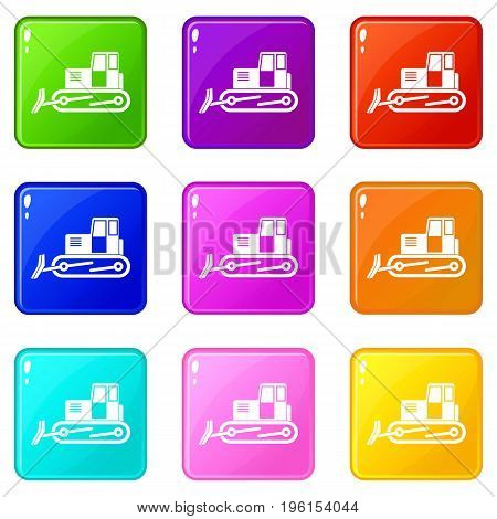 Bulldozer icons of 9 color set isolated vector illustration