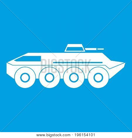 Armored personnel carrier icon white isolated on blue background vector illustration