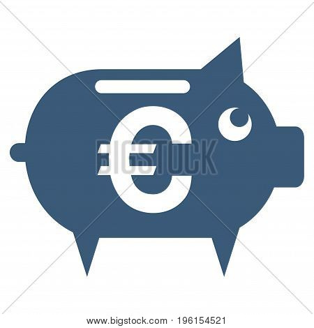 Euro Piggy Bank vector icon. Flat blue symbol. Pictogram is isolated on a white background. Designed for web and software interfaces.