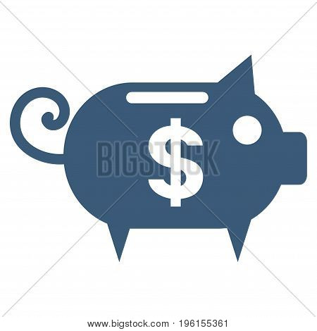 Piggy Bank vector icon. Flat blue symbol. Pictogram is isolated on a white background. Designed for web and software interfaces.