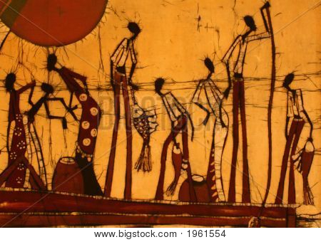 An African art batik image of people fishing in a boat. poster