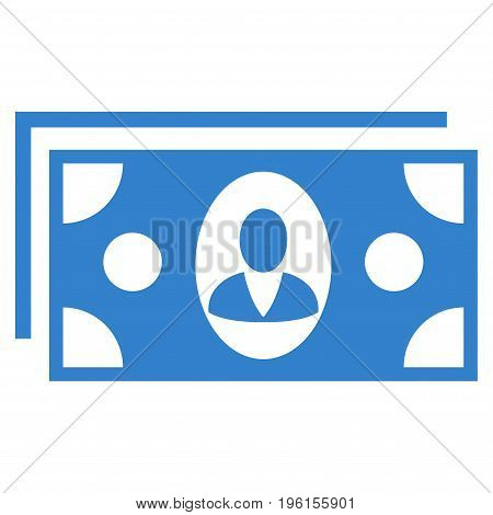 Banknotes vector icon. Flat cobalt symbol. Pictogram is isolated on a white background. Designed for web and software interfaces.