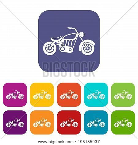 Motorcycle icons set vector illustration in flat style in colors red, blue, green, and other