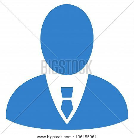 Boss vector icon. Flat cobalt symbol. Pictogram is isolated on a white background. Designed for web and software interfaces.