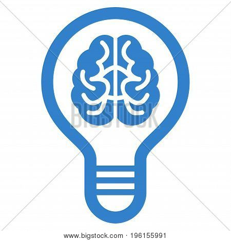 Brain Bulb vector icon. Flat cobalt symbol. Pictogram is isolated on a white background. Designed for web and software interfaces.