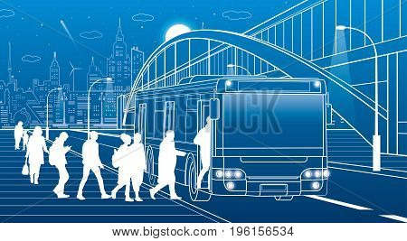 People get off the bus. Pedestrian arch bridge. City transport infrastructure, modern town in background. White lines, night scene, vector design art