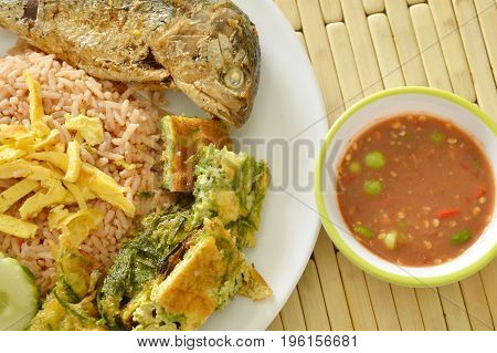 spicy fried rice shrimp chili paste sauce eat couple with egg and mackerel