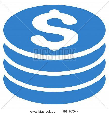 Dollar Coin Stack vector icon. Flat cobalt symbol. Pictogram is isolated on a white background. Designed for web and software interfaces.
