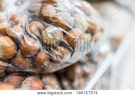 Raw Unshelled Hazelnuts In Plastic Bags For Sale