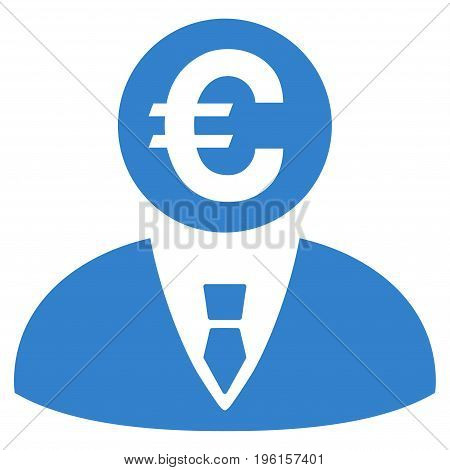 Euro Banker vector icon. Flat cobalt symbol. Pictogram is isolated on a white background. Designed for web and software interfaces.