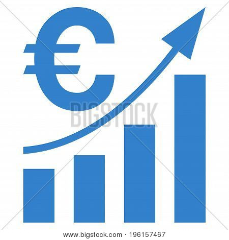 Euro Bar Chart Trend vector icon. Flat cobalt symbol. Pictogram is isolated on a white background. Designed for web and software interfaces.