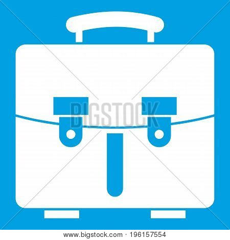 Diplomat bag icon white isolated on blue background vector illustration