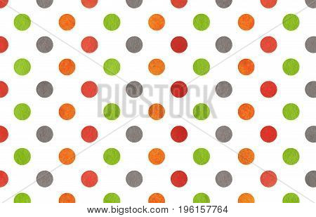 Watercolor Orange, Green, Red And Grey Polka Dot Background.