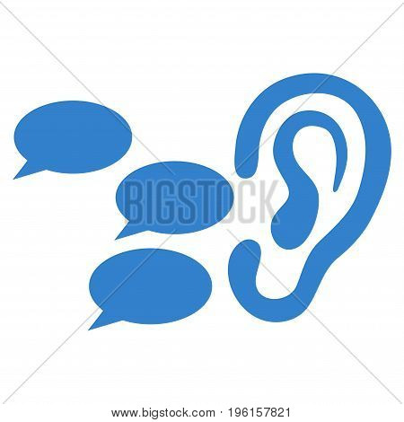 Listen Gossips vector icon. Flat cobalt symbol. Pictogram is isolated on a white background. Designed for web and software interfaces.