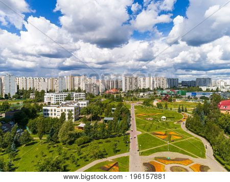 Moscow, Russia - July 20.2017. View from the height of a boulevard with flowers in Zelenograd