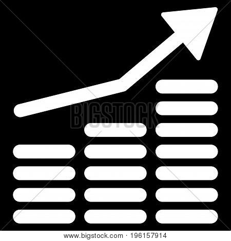 Coins Diagram vector icon. Flat white symbol. Pictogram is isolated on a black background. Designed for web and software interfaces.