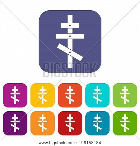 Orthodox cross icons set vector illustration in flat style in colors red, blue, green, and other