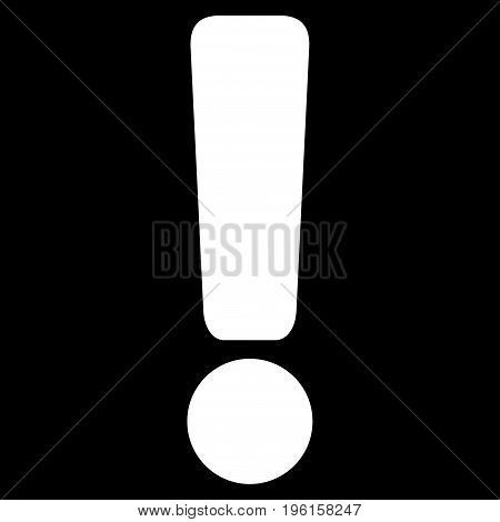 Exclamation Sign vector icon. Flat white symbol. Pictogram is isolated on a black background. Designed for web and software interfaces.
