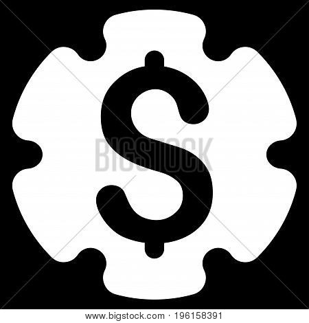 Financial Settings Gear vector icon. Flat white symbol. Pictogram is isolated on a black background. Designed for web and software interfaces.