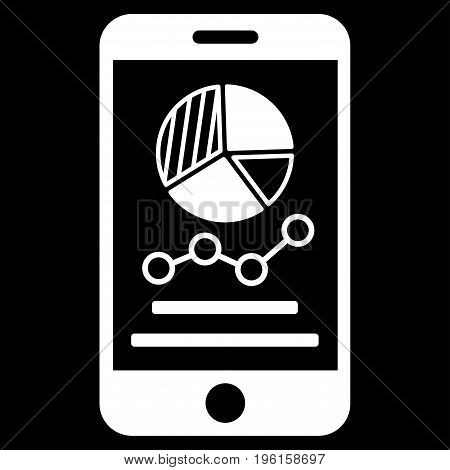 Mobile Graphs vector icon. Flat white symbol. Pictogram is isolated on a black background. Designed for web and software interfaces.