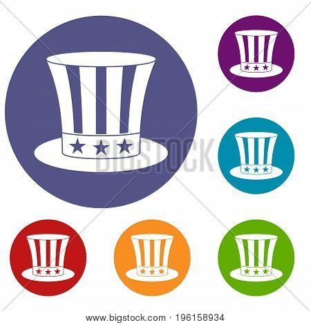 Uncle sam hat icons set in flat circle red, blue and green color for web