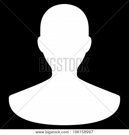 Person vector icon. Flat white symbol. Pictogram is isolated on a black background. Designed for web and software interfaces.