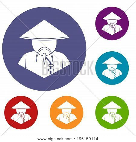 Asian man in conical hat icons set in flat circle red, blue and green color for web