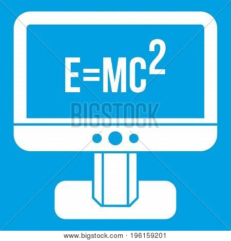Monitor with Einstein formula icon white isolated on blue background vector illustration