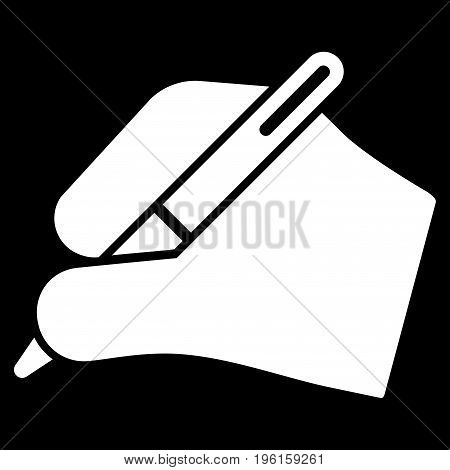 Signature Hand vector icon. Flat white symbol. Pictogram is isolated on a black background. Designed for web and software interfaces.