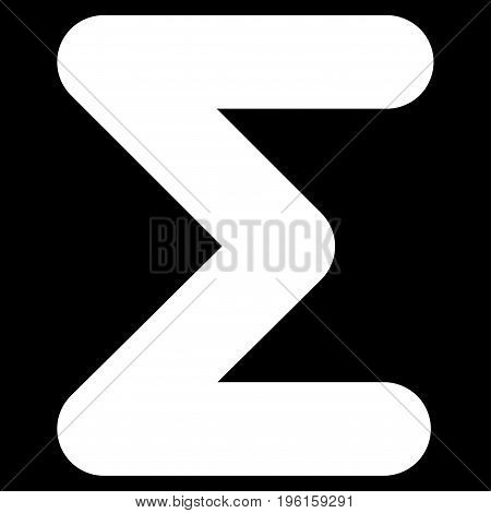 Sum vector icon. Flat white symbol. Pictogram is isolated on a black background. Designed for web and software interfaces.