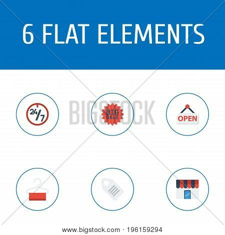 Flat Icons Support , Sign , Dress Stand Vector Elements